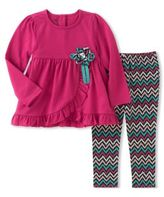 Kids Headquarters Little Girls Two-Piece Tunic & Stretchy Leggings Set