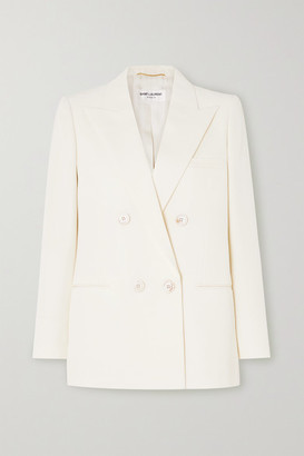 Saint Laurent Double-breasted Wool-twill Blazer - Ivory
