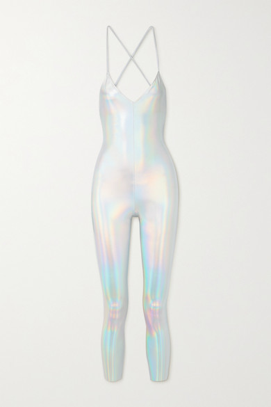 Thumbnail for your product : Norma Kamali Fara Open-back Iridescent Coated Stretch-jersey Jumpsuit - Silver