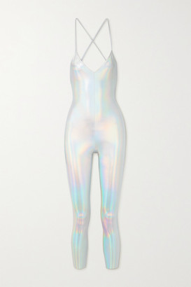 Norma Kamali Fara Open-back Iridescent Coated Stretch-jersey Jumpsuit - Silver