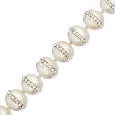 """Zales 10.0 - 11.0mm Cultured Freshwater Pearl and Crystal Bracelet with Sterling Silver Clasp - 7.5"""""""