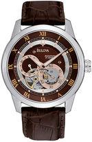 Bulova Mens Brown Leather Strap Watch 96A120