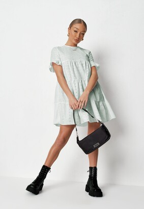 Missguided Mint Frill Sleeve Broderie Smock Dress
