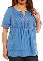 Intro Plus Short Sleeve Solid Rayon Lace Top