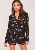 Missguided Pyjama Style Floral Blazer Black