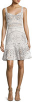 J. Mendel Sleeveless Drop-Waist Lace Dress, White