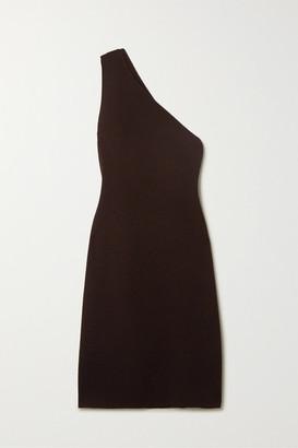 Bottega Veneta One-shoulder Stretch-knit Midi Dress - Brown