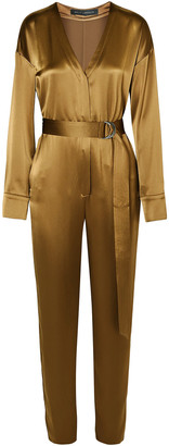 Sally LaPointe Belted Satin Jumpsuit