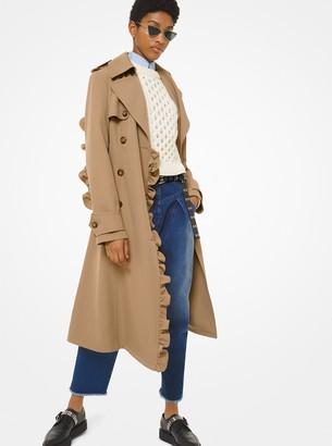 Michael Kors Wool Gabardine Ruffle Trench Coat