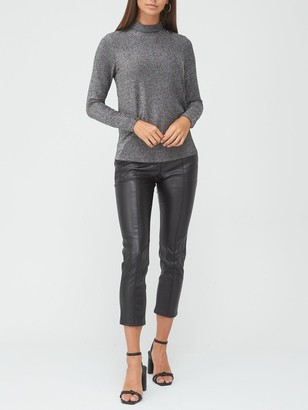 Very Lurex Turtle Neck Long Sleeve Top - Silver