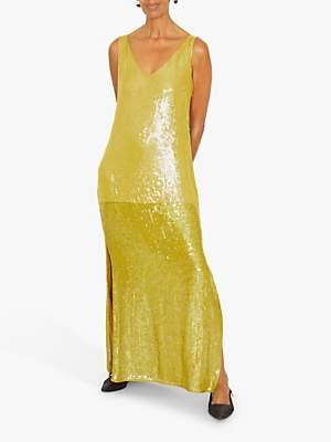 Jigsaw Sequin Slip Dress, Green Moss