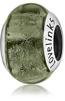 Lovelinks 925 Sterling Silver Bottle Green Plain Murano Glass Bead