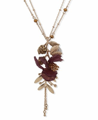 lonna & lilly Flower Pendant Necklace Gold and Burgundy 36 Inch