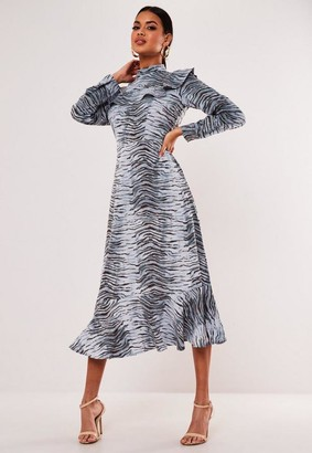 Missguided Blue Animal Print High Neck Frill Smock Dress