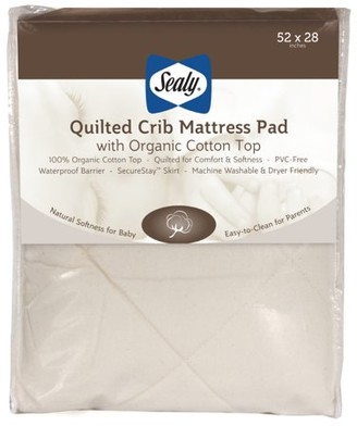 Sealy Quilted Crib Mattress Pad with Organic Cotton Top