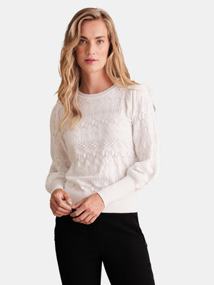 Haute Hippie Erika Pointelle Puff Sleeve Sweater