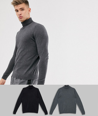 Asos DESIGN cotton roll neck sweater in black / charcoal 2 pack save