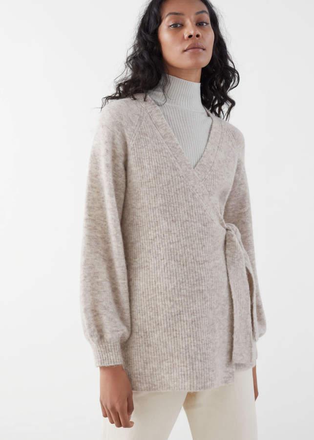 Wool Blend Long Wrap Cardigan