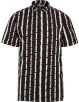 River Island MensBlack spike stripe print short sleeve shirt