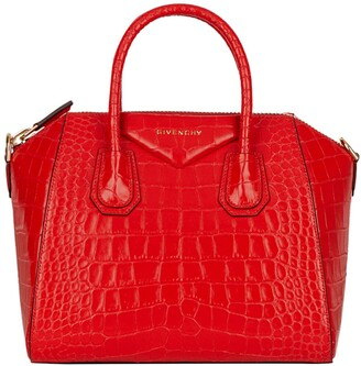 Givenchy Mini Antigona Croc Embossed Calfskin Leather Satchel