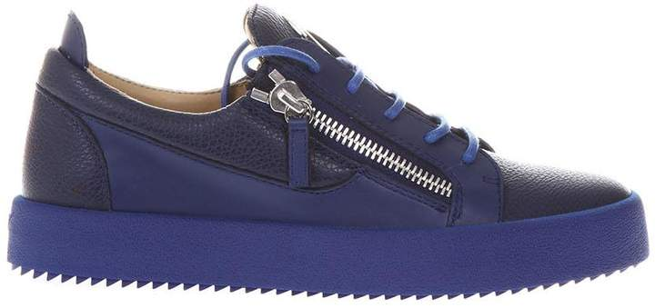 Giuseppe Zanotti Bluette Leather Zipped Sneakers