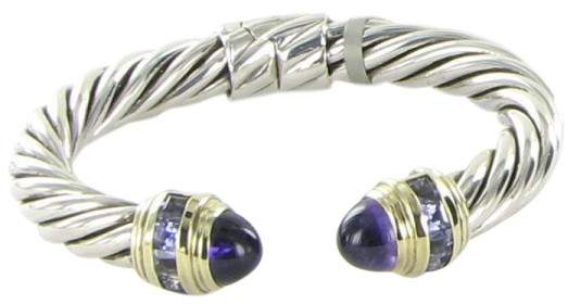 David Yurman Renaissance 14K Yellow Gold and Sterling Silver with Amethyst and Iolite Carre Bracelet