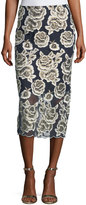 T Tahari Floral-Embroidered Midi Skirt
