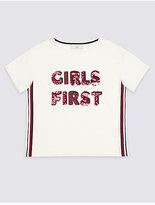 Marks and Spencer Pure Cotton Sequin Top (3-14 Years)