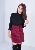 Missy Empire Christelle Wine Ribbed Button Up Mini Skirt