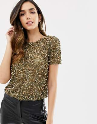 Asos Design DESIGN t-shirt with sequin embellishment-Green