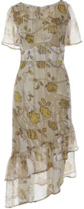 Dalb Hora Silk Midi Dress With Asymmetric Ruffled Hem