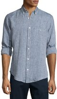 7 For All Mankind Linen Long-Sleeve Oxford Shirt, Authentic Navy