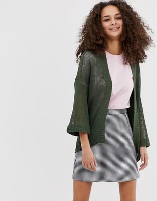 Brave Soul edge to edge cardigan in khaki-Green