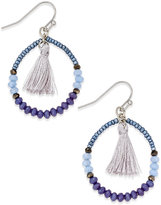 INC International Concepts Silver-Tone Blue Bead Tassel Hoop Earrings, Only at Macy's