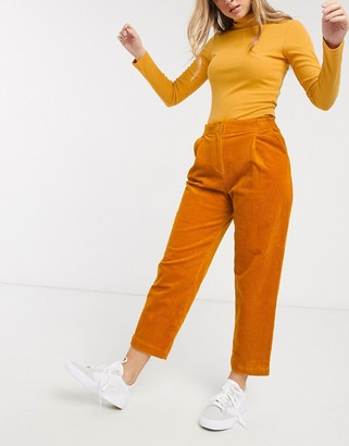 Monki cord peg trousers in mustard-Yellow