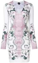 Just Cavalli floral and snakeskin print bodycon dress