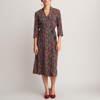 La Redoute Collections Wrapover Dress with 3/4 Length Sleeves