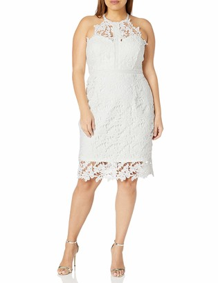 City Chic Women's Apparel Women's Plus Size Halter necklined Dress with lace Overlay
