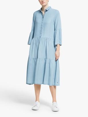 Nümph Nuanna Tiered Midi Shirt Dress, Light Blue
