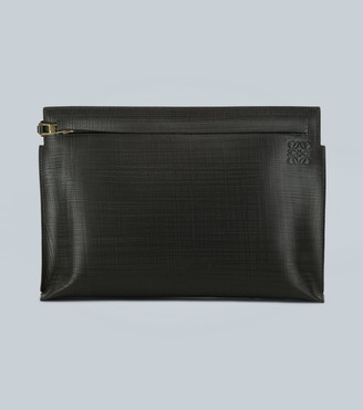 Loewe T pouch linen leather clutch bag