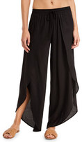 Tori Praver Swimwear Justina Split-Front Wide-Leg Coverup Pants, Black