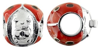 Storywheels Charm Silver Ladybug Wheel with Black and Red Enamel (1 Piece)