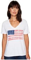 The Original Retro Brand - Painted American Flag V-Neck Slub Tee Women's T Shirt
