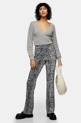 Topshop Womens Blue Snake Plisse Flared Trousers - Blue