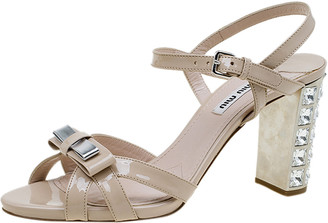 Miu Miu Beige Patent Crystal Heel Sandals Size 38.5