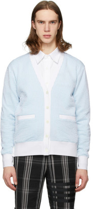 Thom Browne Blue and White Seersucker Stripe Cardigan