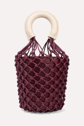 STAUD Moreau Leather And Macrame Bucket Bag - Burgundy