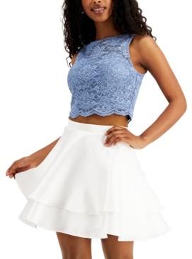 City Studios Juniors' 2-Pc. Lace Ruffled Fit & Flare Dress