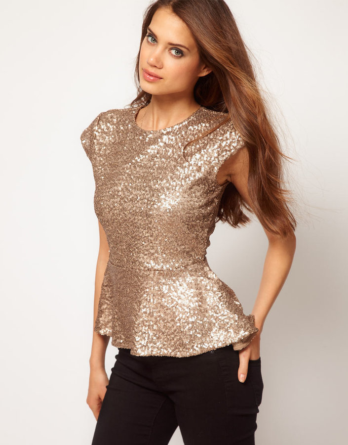 Asos Peplum Top in Sequin