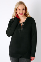 Yours Clothing Black Long Sleeve Jumper With Lace Up Neckline